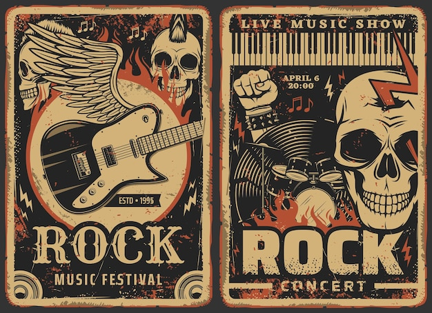 Rock music posters, concert or band fest and live music show festival