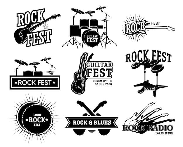 ロックミュージックのレトロなエンブレムコレクション。ギターとドラム、ロックフェスト、ラジオテキストの白黒の隔離されたイラスト。コンサートの発表、ブルースバンドのポスターテンプレート