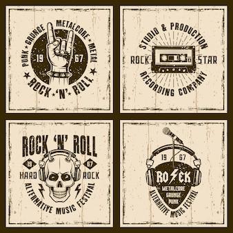 Rock music retro emblems