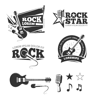 Rock music shop, recording studio, karaoke club vector labels, badges, emblems logos with musical in