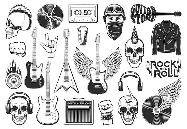 Rock music symbols, musical instruments icons set