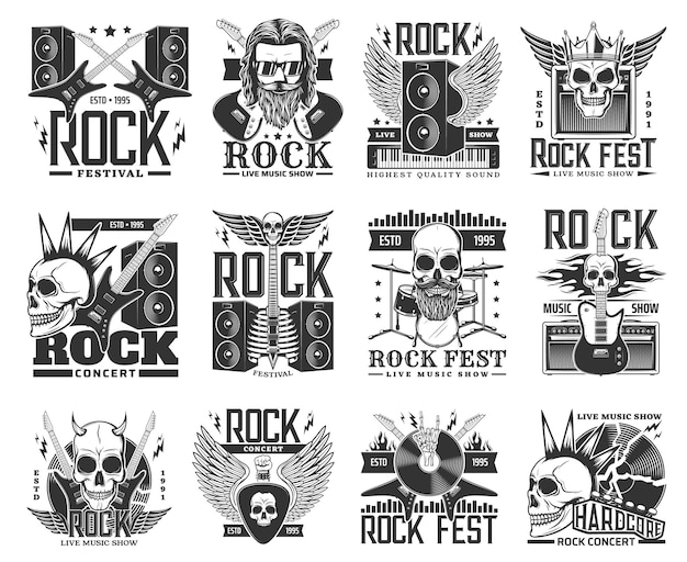 Рок-музыка векторные иконки и символы с рок-н-роллом и хэви-метал гитарами, черепами и барабанами. музыкант хард-рок-группы, знак рукой рокера, громкоговоритель и молния, виниловая пластинка или бородатый скелет