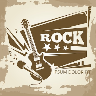 Rock music vintage emblem design