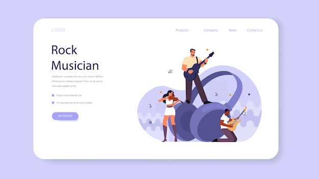 Rock musician concept web banner or landing page