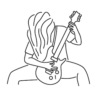 Rock musician is playing electrical guitar