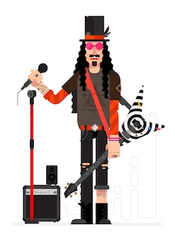 Rock musician in the style of the cartoon. vector.