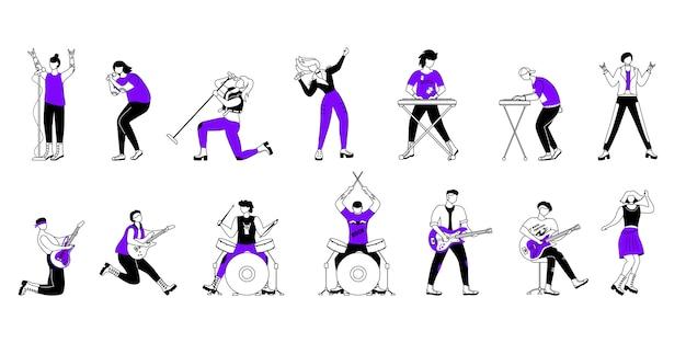 Рок-музыканты контурные иллюстрации набор. участники музыкальной группы. гитаристы, барабанщики, ведущие вокалисты. люди играют на концерте. мультипликационный персонаж простое рисование