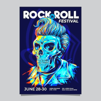Музыкальный фестиваль рок-н-ролл или шаблон события с иллюстрацией головы черепа syle волос pompadour.