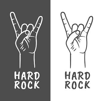 로큰롤 또는 헤비메탈 손 제스처. 두 손가락 위로. 바위 손 제스처입니다. 뿔