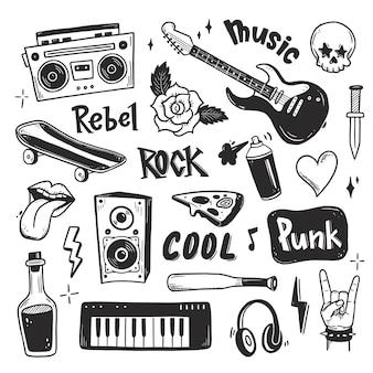 Rock n roll punk music doodle set
