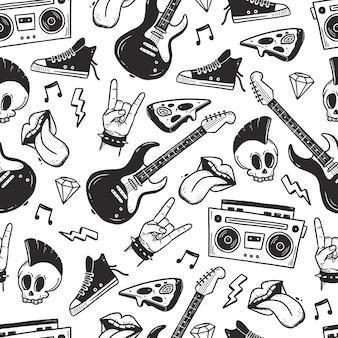 Rock n roll punk music seamless pattern