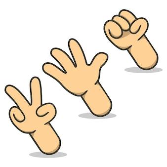 ロックペーパーはさみ手のサインゲーム