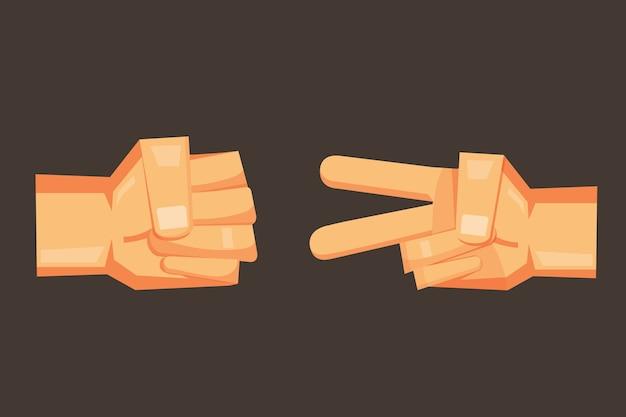 ロックペーパー - はさみベクトル漫画の手のデザイン。