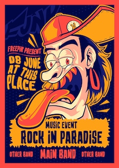 Rock in paradise music poster vector