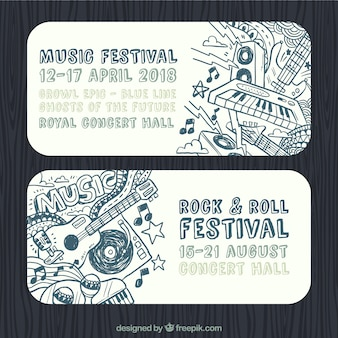 Rock and roll festival banners with hand-drawn instruments