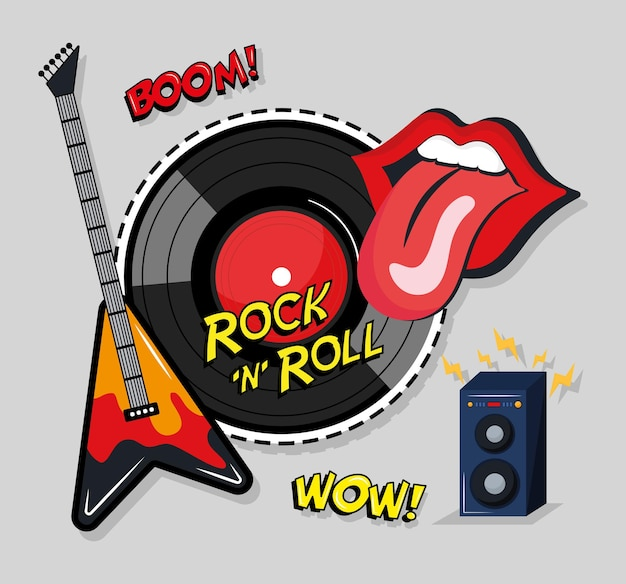 Rock and roll four stickers