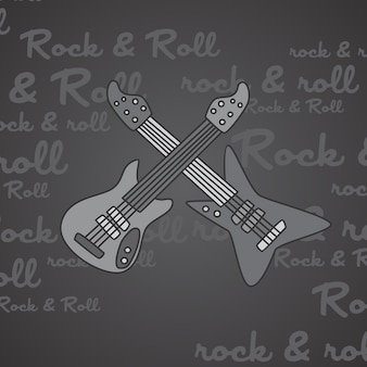Rock and roll guitar theme vector art illustration