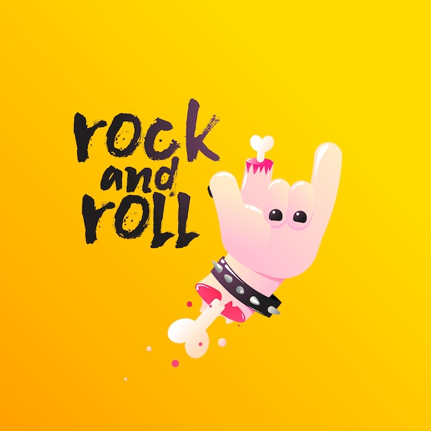 Rock and roll. hand shows sign of the horns with bones and blood.