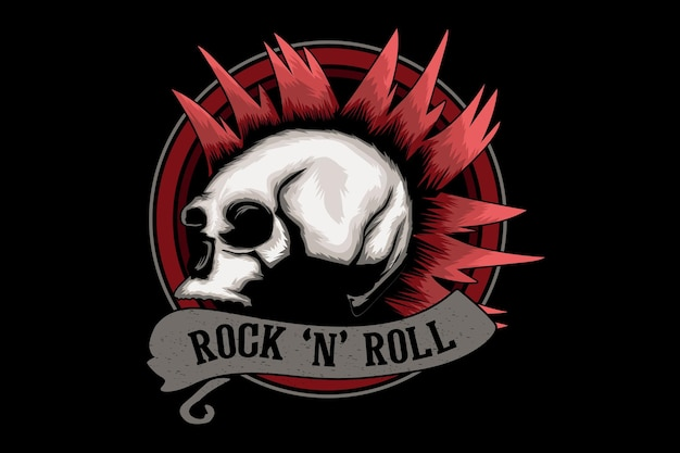 Rock and roll illustration design with skull