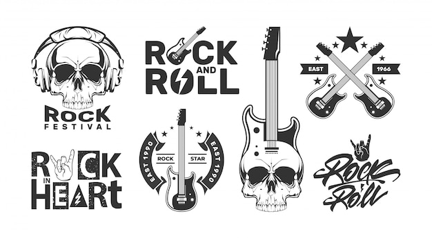 Rock and roll logos set with skull. music festival design labels.