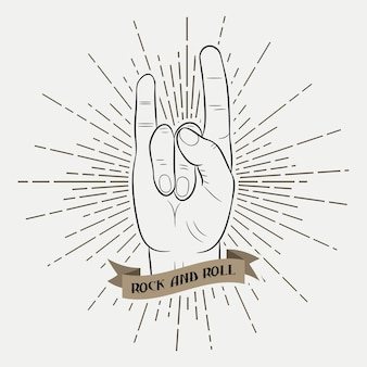 Rock and roll music hand. typography graphic for clothes with sunray and ribbon. print for t-shirts, poster, apparel. hipster style. vector illustration.