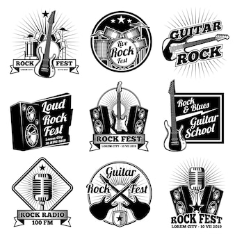 Rock and roll music labels. vintage heavy metal emblems set