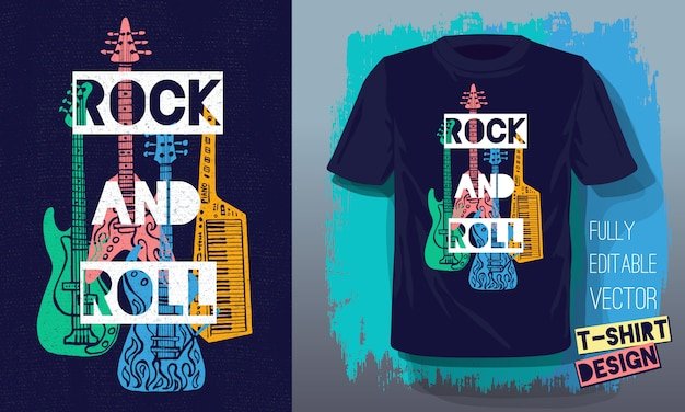 Rock and roll music lettering slogan retro sketch style electric guitar, bass guitar, piano for t shirt design