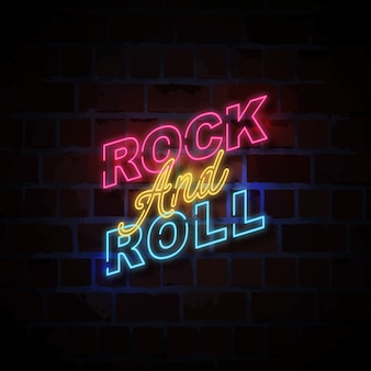 Rock and roll neon style sign illustration