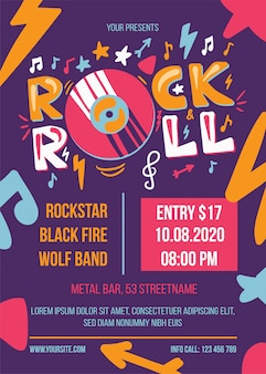 Rock and roll party poster template