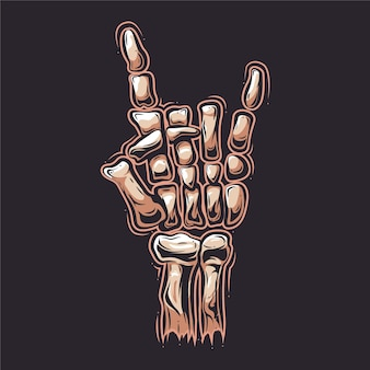 Rock and roll skeleton hand cartoon