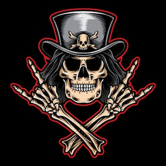 Rock and roll skull vector logo