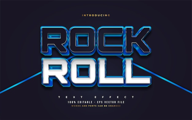 Rock and roll text in blue, white, and black with 3d embossed effect. editable text style effects