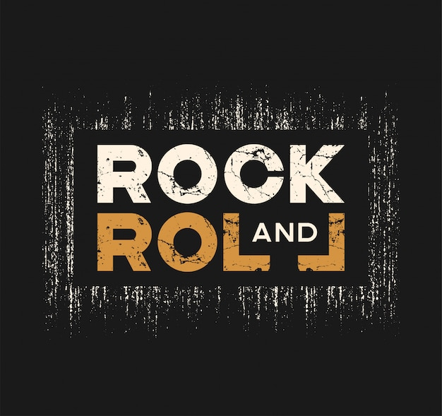 Rock and roll tshirt and apparel design with grunge effect and