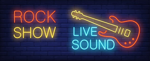 Rock show live sound neon sign. illuminated electric guitar of rock star on brick wall.
