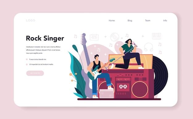 Rock singer web banner or landing page