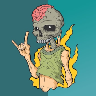 Rock and skull