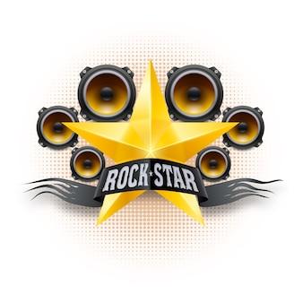 골든 스타와 음향 스피커와 록 스타 배너