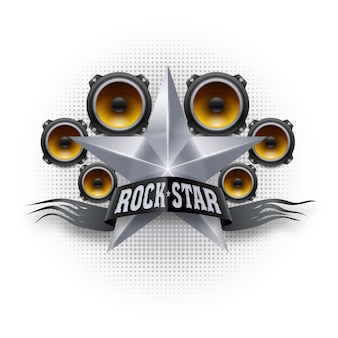 Rock star banner with metallic star and acoustic speakers