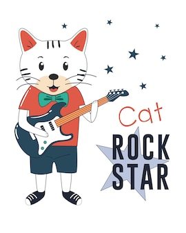 Rock star cat with guitar.