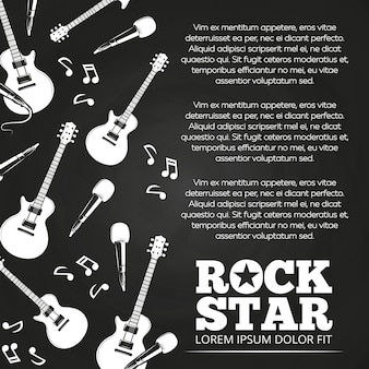 Rock star chalkboard poster design