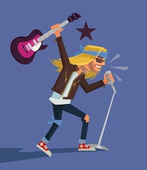 Rock star flat cartoon illustration