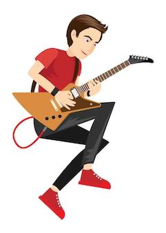 Rock star guitarist performance in vector