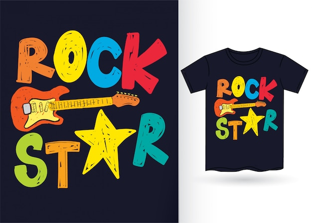 Rock star hand drawn typography for tshirt