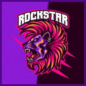 Рок-звезда лев талисман киберспорт дизайн логотипа иллюстрации вектор шаблон, логотип тигра для командной игры стример youtuber баннер дергаться раздор, полноцветный мультяшный стиль