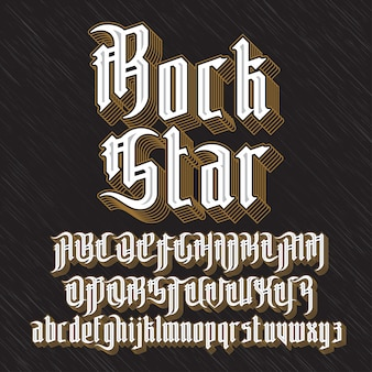 Rock star modern gothic style font. gothic letters with decoration elements.