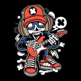 Rock star skull cartoon