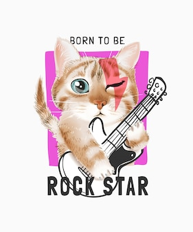 Rock star slogan with cute cartoon cat playing guitar illustration