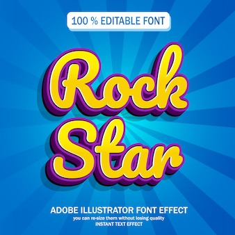 Rock star text, editable font effect