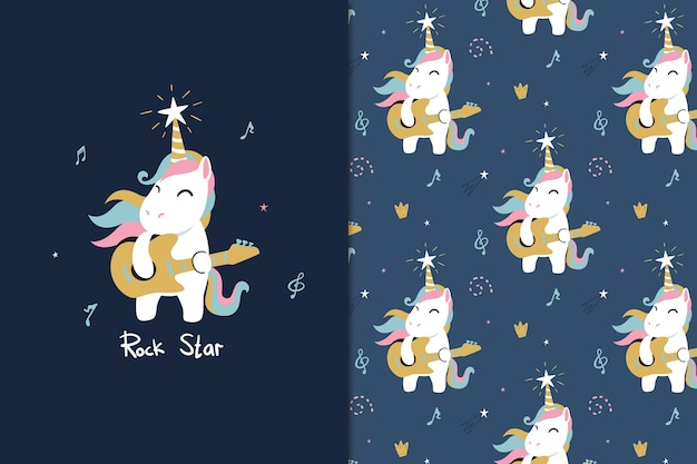 Rock star unicorn seamless pattern