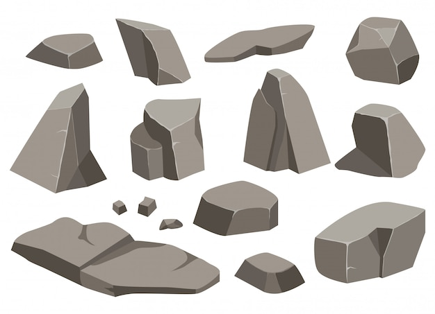 큰 바위 돌 세트 만화. 다른 바위의 집합입니다. 다양한 모양의 조약돌.